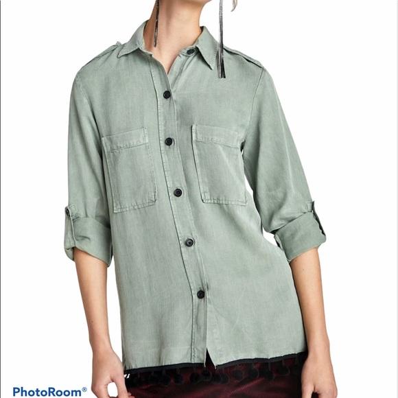 Zara Button Down Pom Pom Shirt